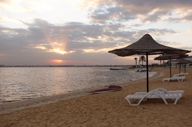 イスマイリアの高級ホテルのビーチ